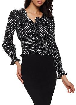 Polka Dot Ruffled Top - BLACK/WHITE - 3401069392719