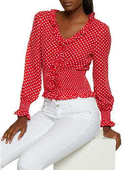 Polka Dot Ruffled Top - 3401069392719