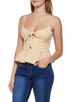 Striped Tie Front Peplum Top - 3401069393253