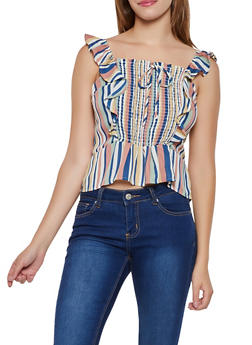 Striped Smocked Ruffle Top - 3401069393322