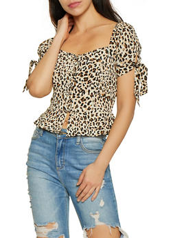 Leopard Smocked Back Tie Sleeve Top - 3401069393499