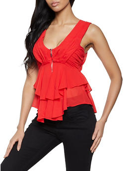 Ruffled Zip Front Plunge Top - 3401069393586