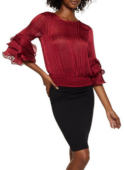 Shimmer Tiered Bell Sleeve Blouse - 3401069393644