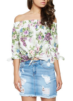 Floral Off the Shoulder Tie Front Top - 3401069393734