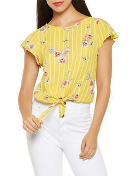 Striped Floral Tie Front Blouse - 3401069394309