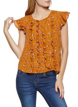 Ruffle Trim Floral Crepe Knit Blouse - 3401069394698