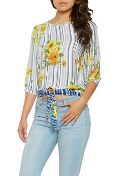 Printed Tie Front Blouse - 3401069395203