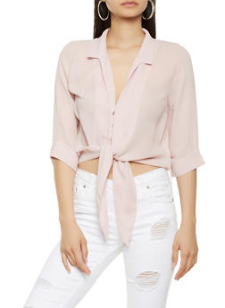 Snap Button Tie Front Blouse - 3401069395209