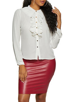 Pleated Button Front Shirt - 3401069395222