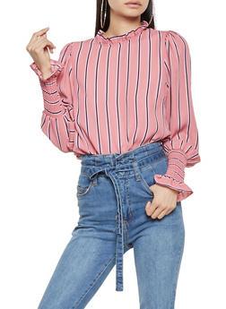 Striped Smocked Sleeve Blouse - 3401069395242