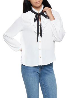 Ruffled Tie Neck Shirt - 3401069395258