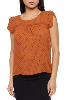 Polka Dot Crochet Detail Top - 3401069395288
