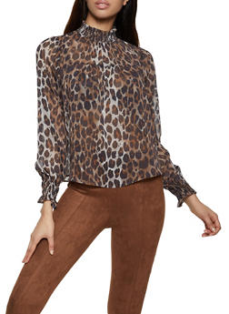 Leopard Mock Neck Blouse - 3401069395546
