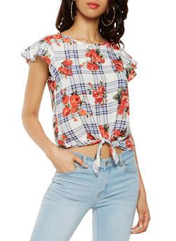 Plaid Floral Tie Front Blouse - 3401069395783