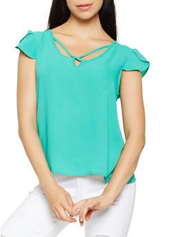 Crepe Knit Tulip Sleeve Top - 3401069396074