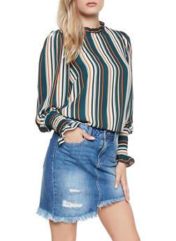 Ruffle Trim Striped Blouse - 3401069396242
