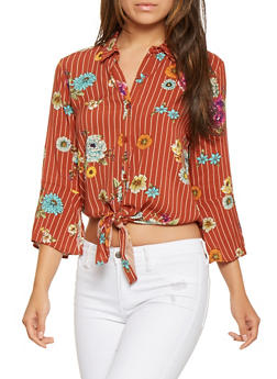 Floral Striped Tie Front Shirt - 3401069396730