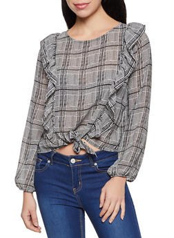 Plaid Ruffled Tie Front Blouse - 3401069396816