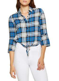 Plaid Tie Front Shirt - 3401069397305