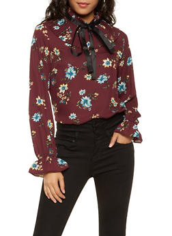 Pleated Tie Neck Printed Blouse - 3401069397308