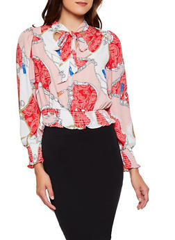 Tie Neck Printed Blouse - 3401069399251
