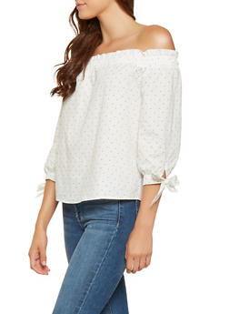 Polka Dot Off the Shoulder Top - 3401069399981