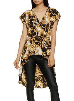 Status Print Faux Wrap High Low Top - 3401072241077