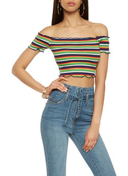 Ribbed Knit Striped Off the Shoulder Crop Top - 3402054212411