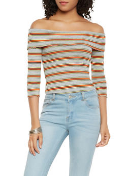 Off the Shoulder Striped Rib Knit Top - 3402054212428
