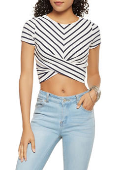 Striped Twist Front Crop Top - 3402054212462