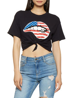 Americana Lips Graphic Tie Front Cropped Tee - 3402054212491