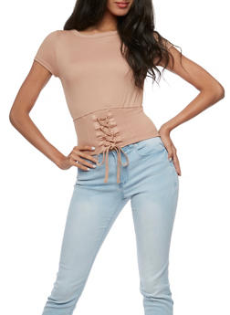 Short Sleeve Lace Up Waist Top - 3402054213205