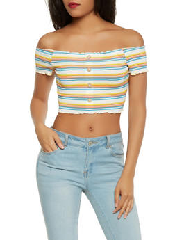 Striped Ribbed Knit Off the Shoulder Top - 3402054214739