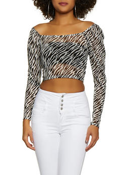 Printed Mesh Off the Shoulder Top - BLACK/WHITE - 3402054215089