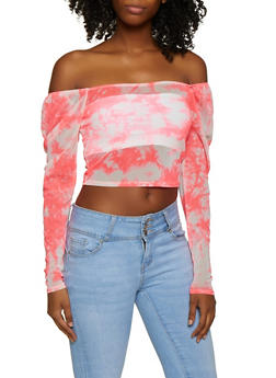 Printed Mesh Off the Shoulder Top - 3402054215089
