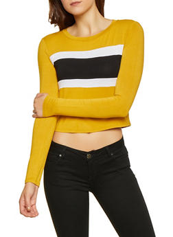 Color Block Long Sleeve Tee - 3402061350077