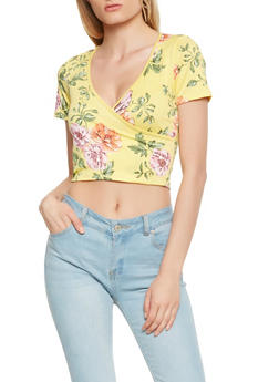 Floral Cropped Wrap Top - 3402061350233