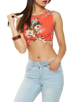 Sleeveless Floral Crop Top - 3402061350236