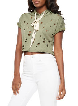 Short Sleeve Ripped Cropped Hoodie - 3402061350281