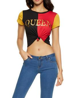 Queen Graphic Color Block Tee - 3402061350767