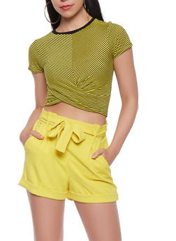 Striped Twist Front Crop Top - 3402061350786