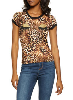 Glitter Graphic Leopard Print Tee - 3402061350984