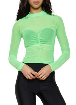 Mesh Ruched Front Top - 3402061351118