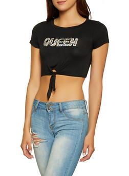Rhinestone Queen Graphic Crop Top - 3402061351123