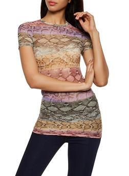Multi Color Snake Print Mesh Tee - 3402061351441