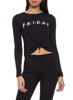 Friday Graphic Tie Front Tee - 3402061352188
