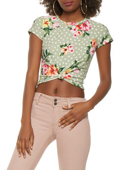 Floral Polka Dot Tie Front Crop Top - 3402061353231