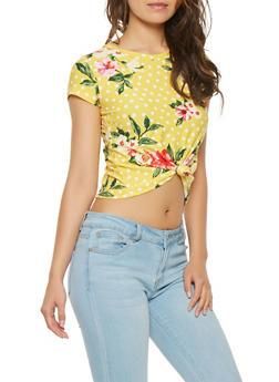 Floral Polka Dot Tie Front Crop Top - 3402061353231