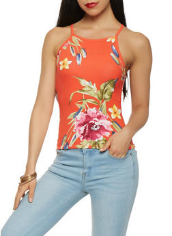Floral Soft Knit Tank Top - 3402061353235
