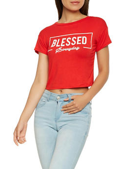 Blessed Graphic Split Tie Back Tee - 3402061353423